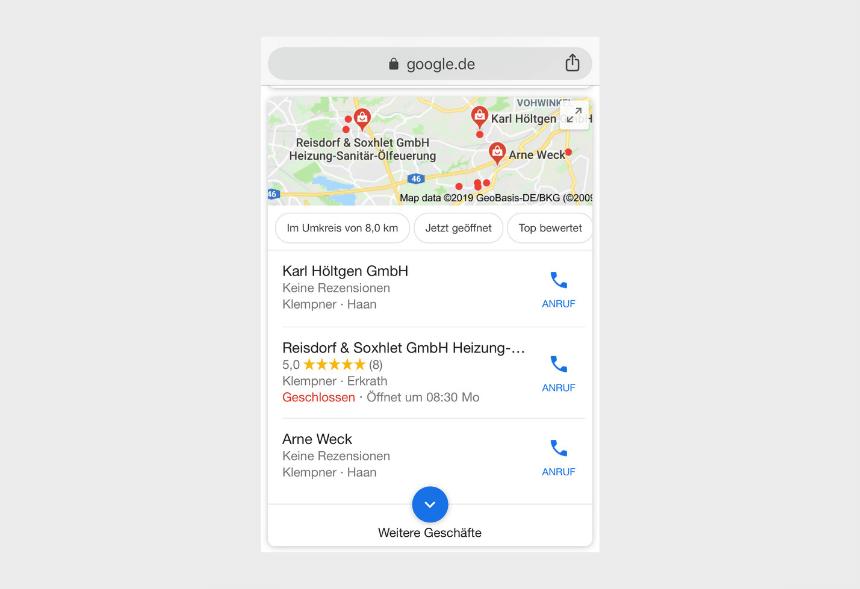 Google Bewertung auf dem Handy